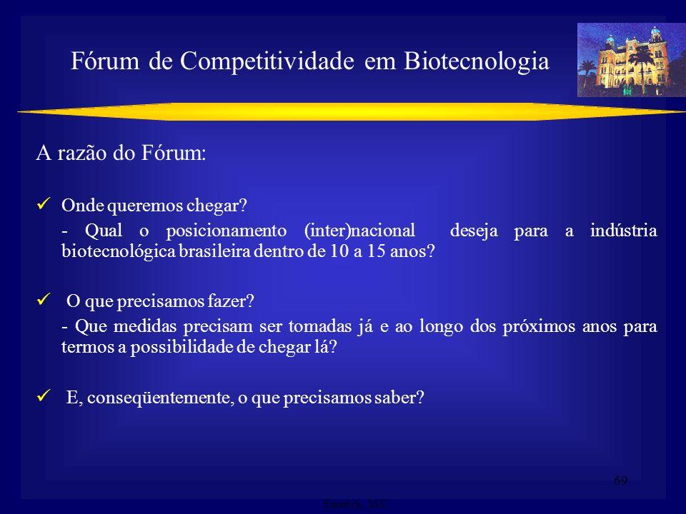 68 Objetivo Geral: Elevar o nível de competitividade científica e tecnológica do país a patamares equiparáveis ao dos países desenvolvidos, acelerando