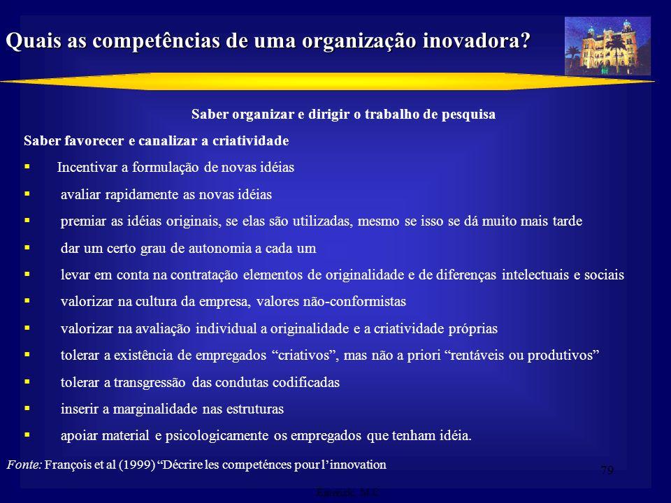 78 1.Saber organizar o trabalho de pesquisa; 2. Saber inserir a inovação na estratégia da empresa como um todo; 3. Saber detectar as necessidades e po