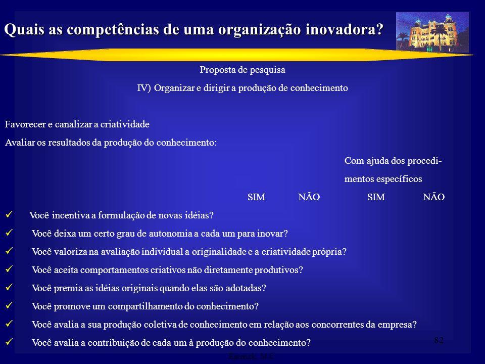 81 Proposta de pesquisa II) Seguir, prever e agir sobre a evolução dos mercados Seguir os produtos concorrentes Conhecer a demanda latente não satisfe