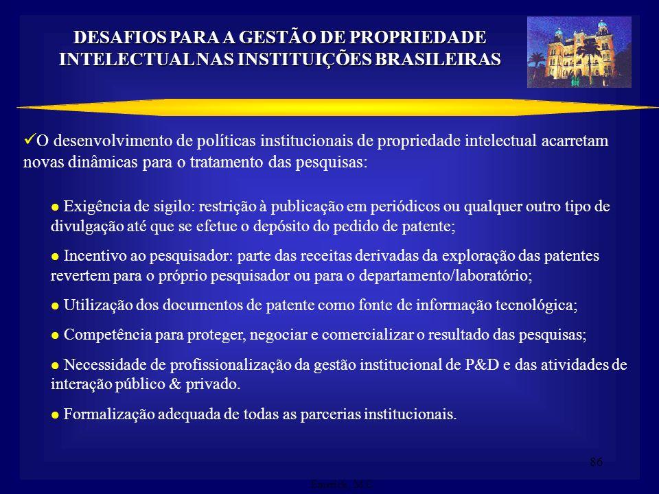 85 Missão Tradicional X Novas Funções Publicar X Patentear Sigilo de informação no meio acadêmico Direito de participação nos resultados DESAFIOS PARA