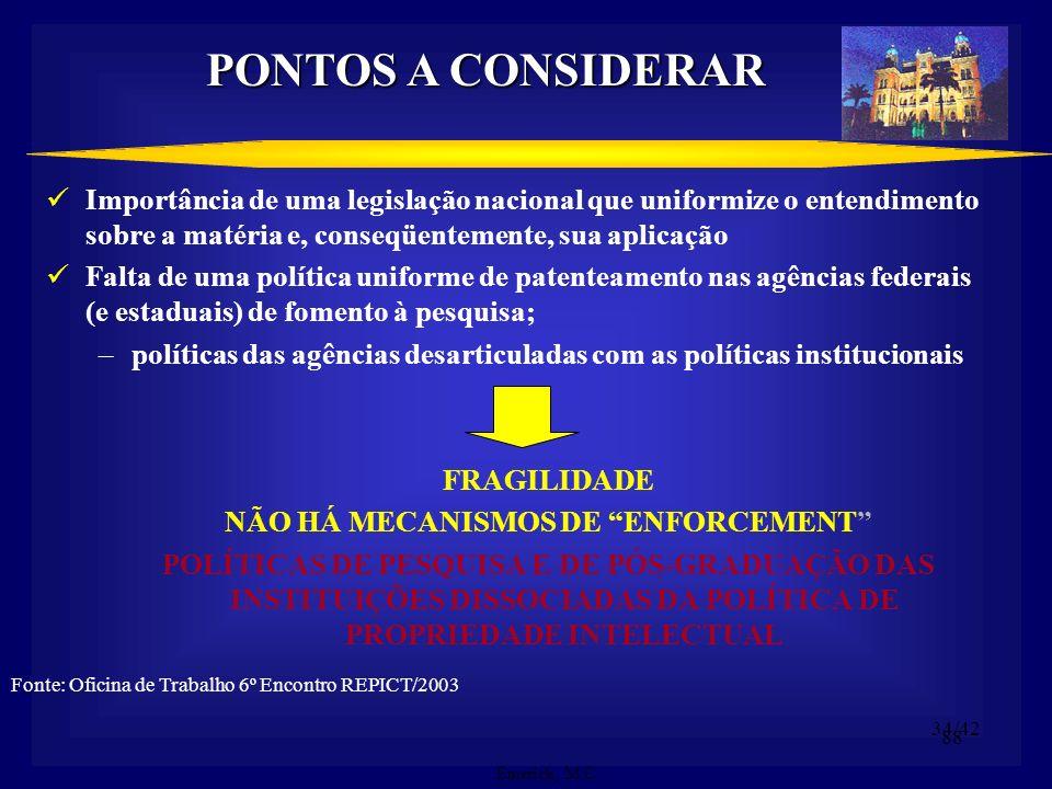 87 ENTRAVES Gerais: Políticas Públicas não convergentes; Legislação que regula as Instituições dificulta o Comércio de Tecnologia – Direito Público &