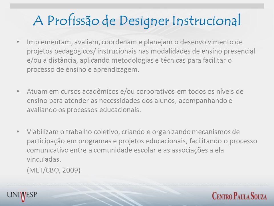A Profissão de Designer Instrucional Implementam, avaliam, coordenam e planejam o desenvolvimento de projetos pedagógicos/ instrucionais nas modalidad