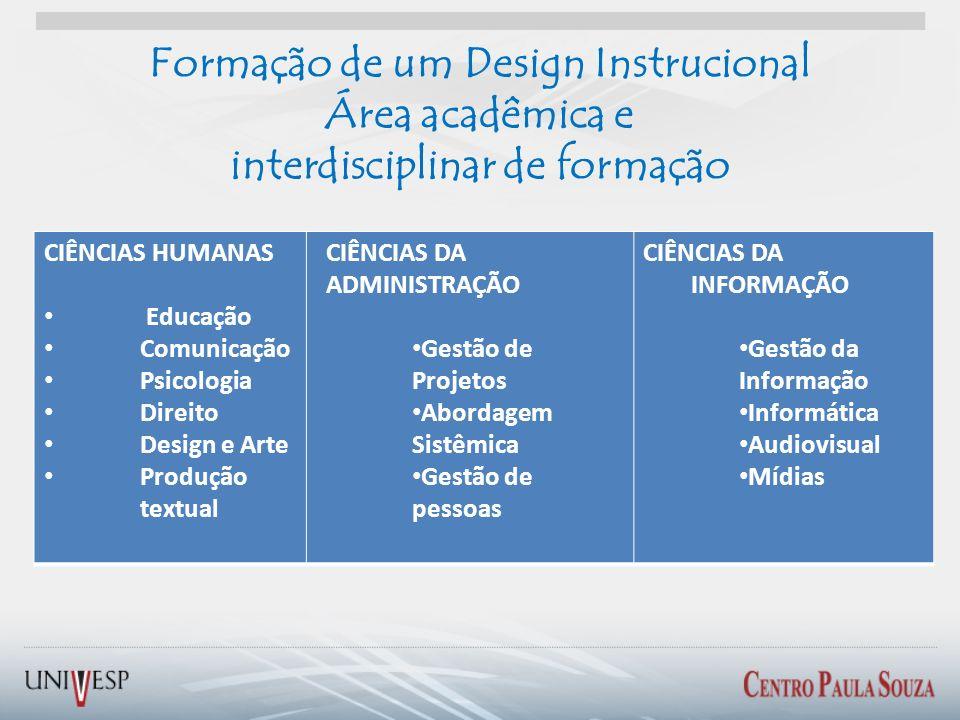 Formação de um Design Instrucional Área acadêmica e interdisciplinar de formação CIÊNCIAS HUMANAS Educação Comunicação Psicologia Direito Design e Art
