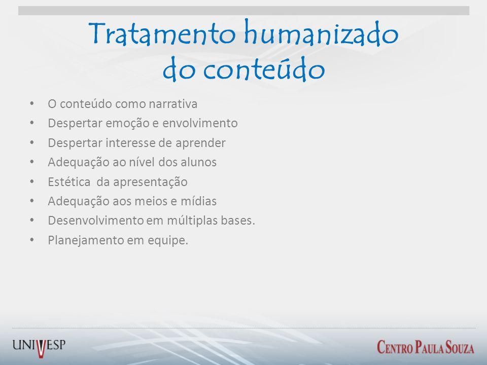 Tratamento humanizado do conteúdo O conteúdo como narrativa Despertar emoção e envolvimento Despertar interesse de aprender Adequação ao nível dos alu
