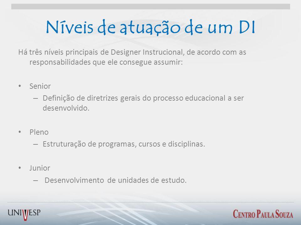 Níveis de atuação de um DI Há três níveis principais de Designer Instrucional, de acordo com as responsabilidades que ele consegue assumir: Senior – D