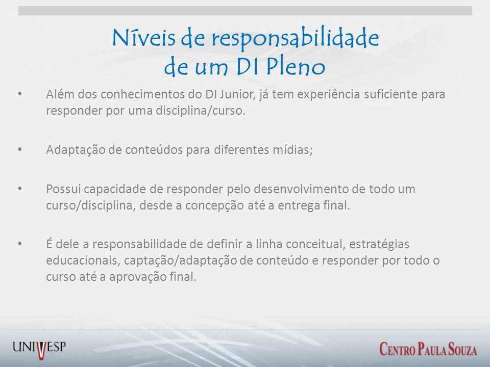 Níveis de responsabilidade de um DI Pleno Além dos conhecimentos do DI Junior, já tem experiência suficiente para responder por uma disciplina/curso.