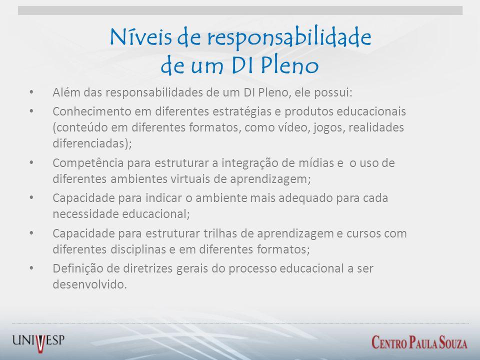 Além das responsabilidades de um DI Pleno, ele possui: Conhecimento em diferentes estratégias e produtos educacionais (conteúdo em diferentes formatos