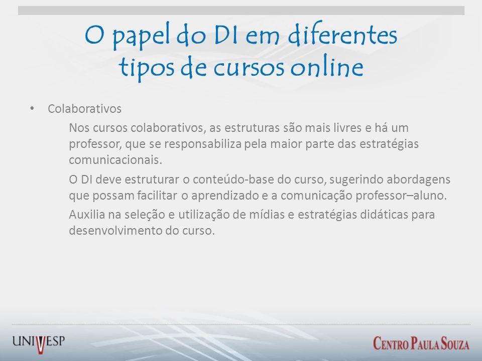 O papel do DI em diferentes tipos de cursos online Colaborativos Nos cursos colaborativos, as estruturas são mais livres e há um professor, que se res