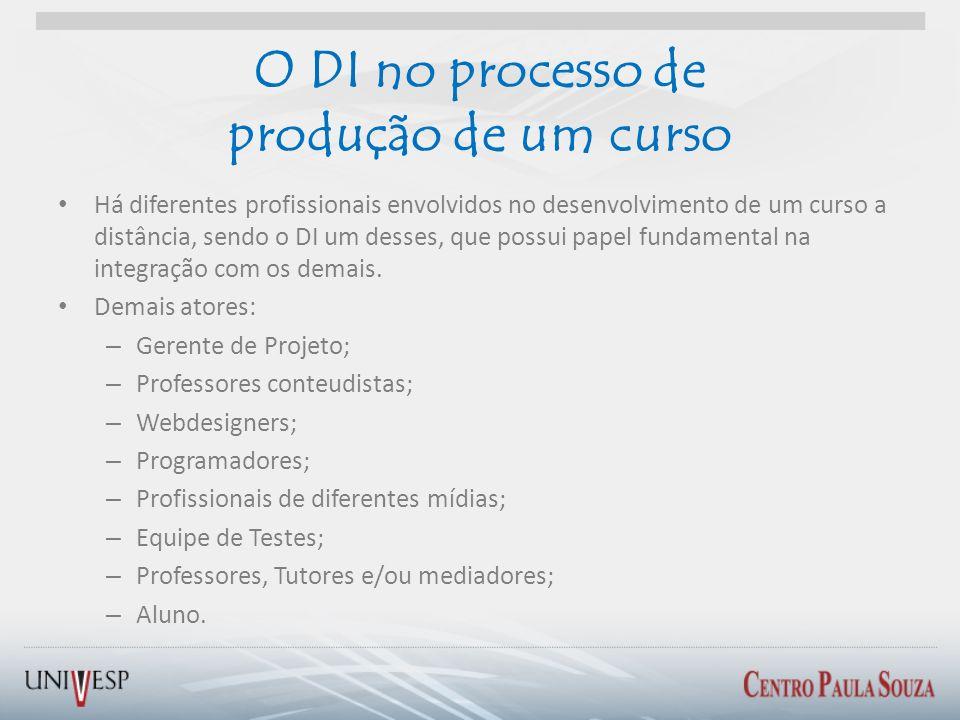 O DI no processo de produção de um curso Há diferentes profissionais envolvidos no desenvolvimento de um curso a distância, sendo o DI um desses, que
