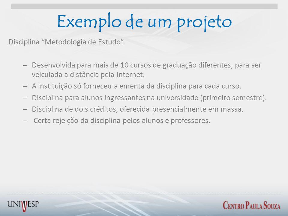 Exemplo de um projeto Disciplina Metodologia de Estudo. – Desenvolvida para mais de 10 cursos de graduação diferentes, para ser veiculada a distância