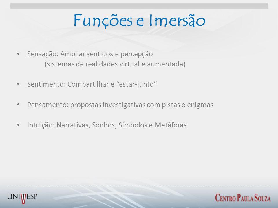 Funções e Imersão Sensação: Ampliar sentidos e percepção (sistemas de realidades virtual e aumentada) Sentimento: Compartilhar e estar-junto Pensament