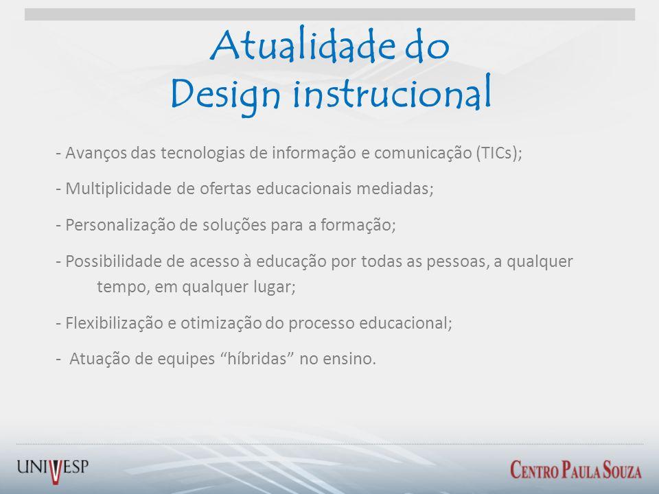 Atualidade do Design instrucional - Avanços das tecnologias de informação e comunicação (TICs); - Multiplicidade de ofertas educacionais mediadas; - P