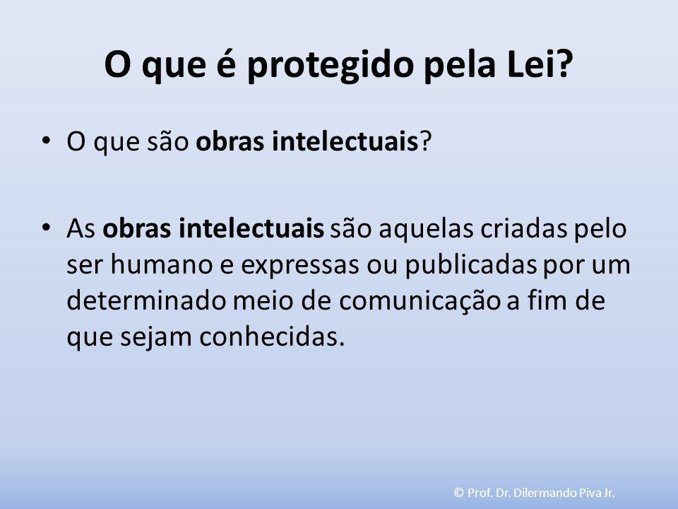 © Prof. Dr. Dilermando Piva Jr. O que é protegido pela Lei? O que são obras intelectuais? As obras intelectuais são aquelas criadas pelo ser humano e