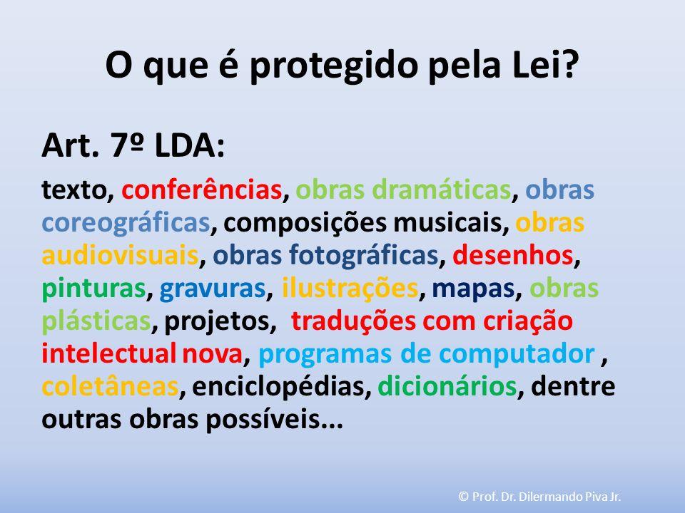 © Prof. Dr. Dilermando Piva Jr. O que é protegido pela Lei? Art. 7º LDA: texto, conferências, obras dramáticas, obras coreográficas, composições music