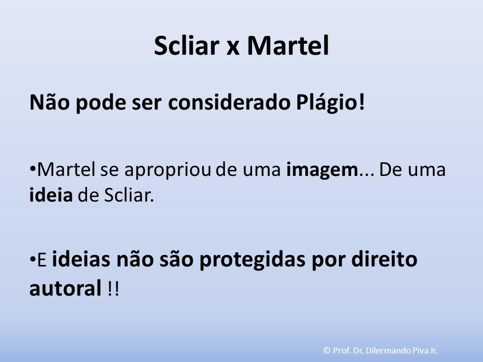 © Prof. Dr. Dilermando Piva Jr. Scliar x Martel Não pode ser considerado Plágio! Martel se apropriou de uma imagem... De uma ideia de Scliar. E ideias