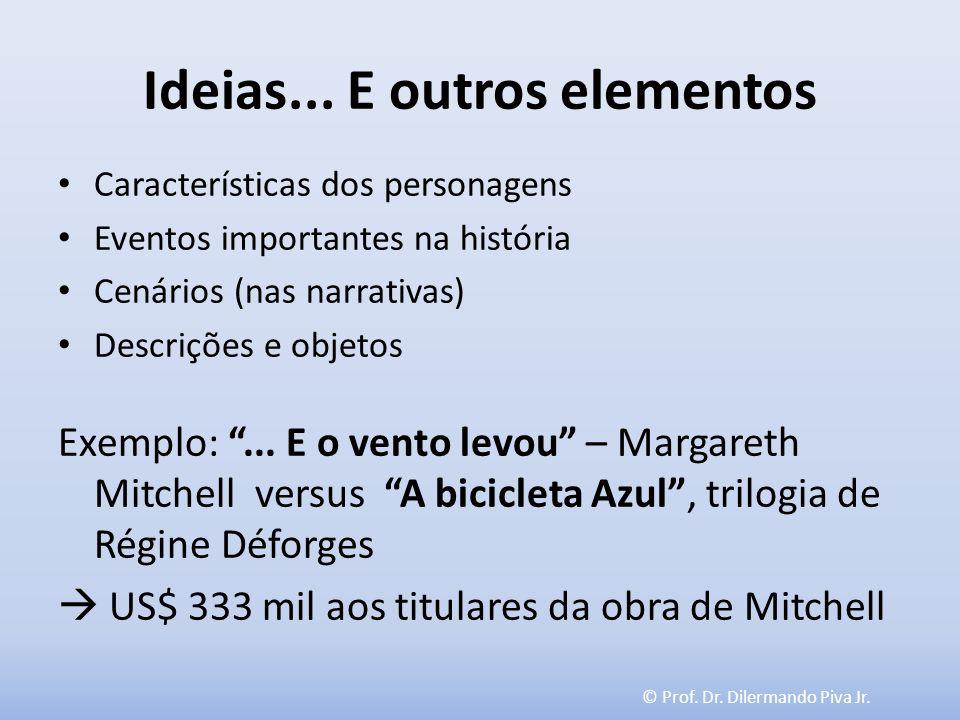 © Prof. Dr. Dilermando Piva Jr. Ideias... E outros elementos Características dos personagens Eventos importantes na história Cenários (nas narrativas)
