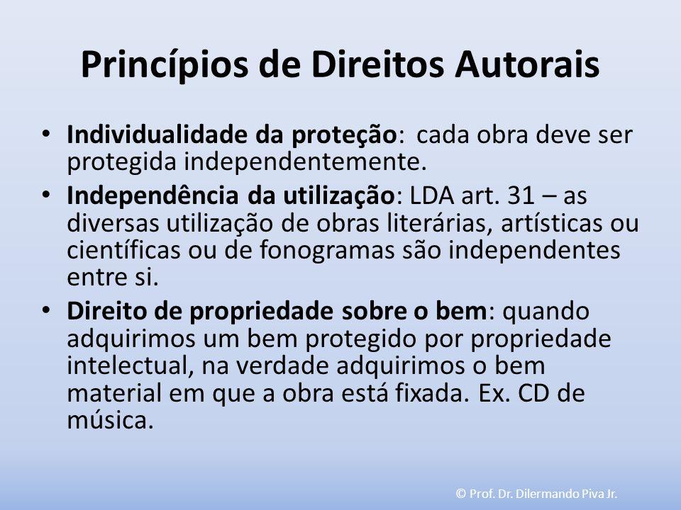 © Prof. Dr. Dilermando Piva Jr. Princípios de Direitos Autorais Individualidade da proteção: cada obra deve ser protegida independentemente. Independê