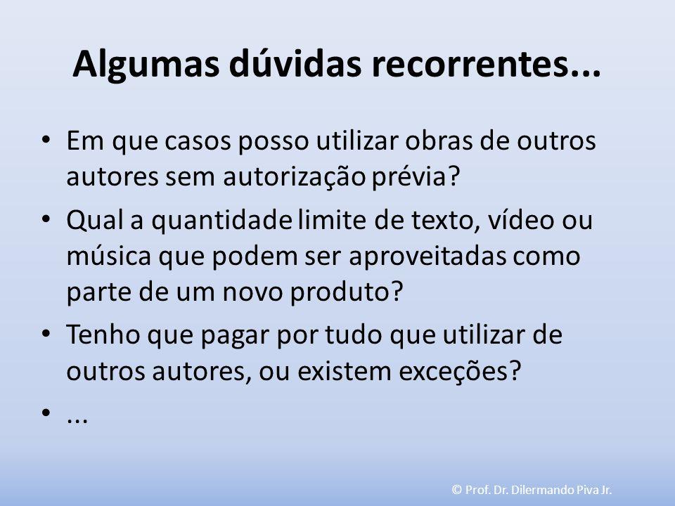 © Prof. Dr. Dilermando Piva Jr. Algumas dúvidas recorrentes... Em que casos posso utilizar obras de outros autores sem autorização prévia? Qual a quan