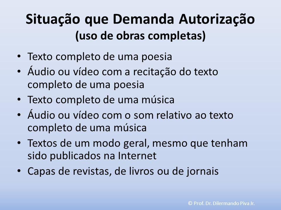© Prof. Dr. Dilermando Piva Jr. Situação que Demanda Autorização (uso de obras completas) Texto completo de uma poesia Áudio ou vídeo com a recitação