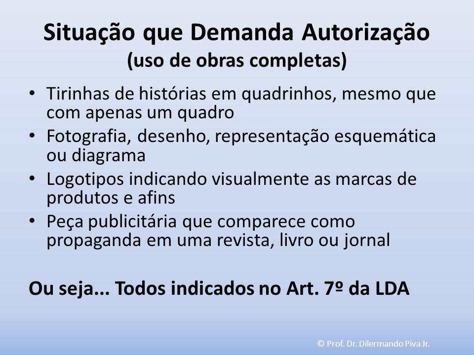 © Prof. Dr. Dilermando Piva Jr. Situação que Demanda Autorização (uso de obras completas) Tirinhas de histórias em quadrinhos, mesmo que com apenas um