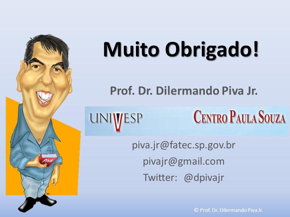 © Prof. Dr. Dilermando Piva Jr. Muito Obrigado! Prof. Dr. Dilermando Piva Jr. piva.jr@fatec.sp.gov.br pivajr@gmail.com Twitter: @dpivajr