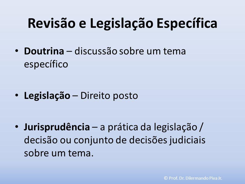 © Prof. Dr. Dilermando Piva Jr. Revisão e Legislação Específica Doutrina – discussão sobre um tema específico Legislação – Direito posto Jurisprudênci