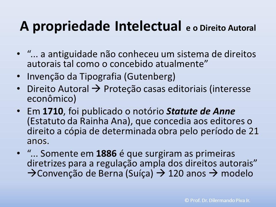 © Prof. Dr. Dilermando Piva Jr. A propriedade Intelectual e o Direito Autoral... a antiguidade não conheceu um sistema de direitos autorais tal como o