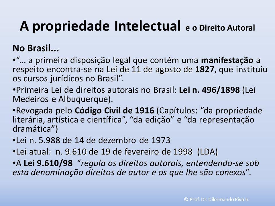 © Prof. Dr. Dilermando Piva Jr. A propriedade Intelectual e o Direito Autoral No Brasil... Lei de 11 de agosto de... a primeira disposição legal que c