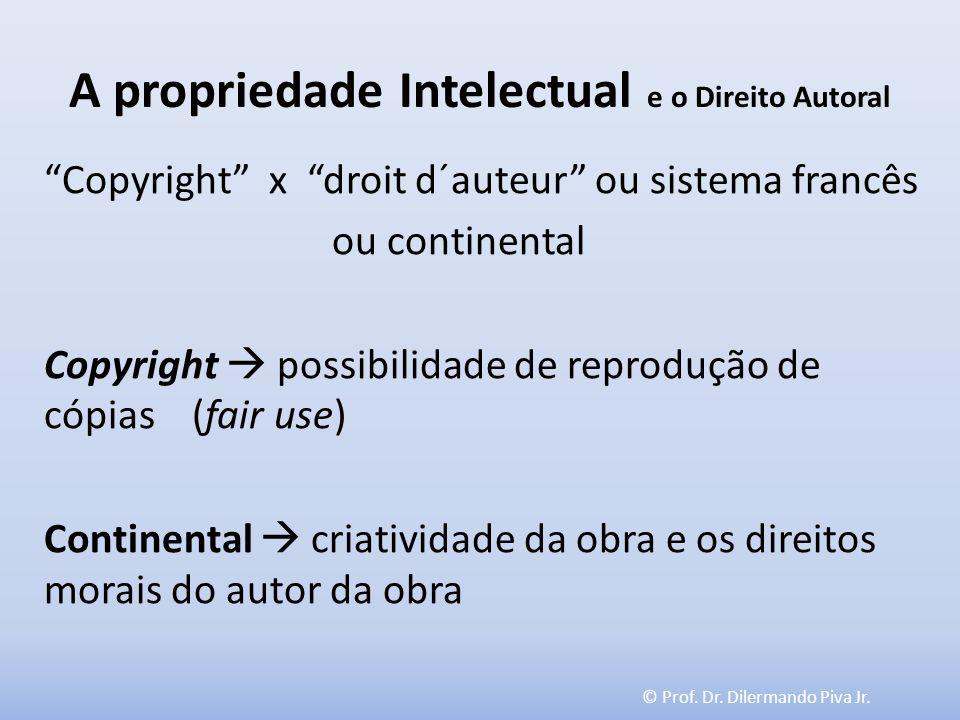 © Prof. Dr. Dilermando Piva Jr. A propriedade Intelectual e o Direito Autoral Copyright x droit d´auteur ou sistema francês ou continental Copyright p