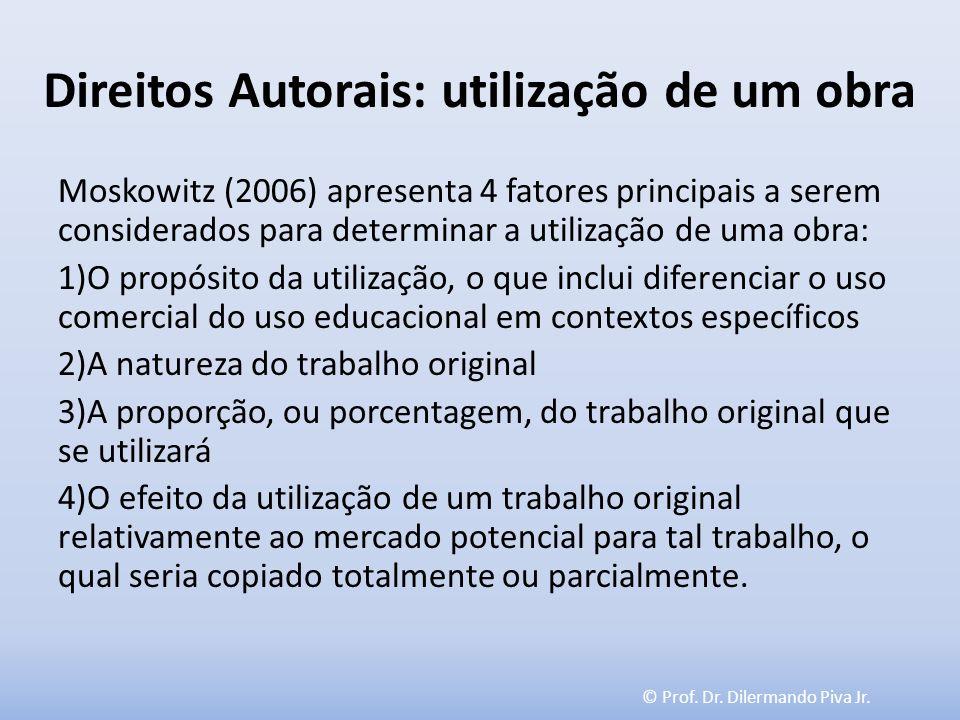 © Prof. Dr. Dilermando Piva Jr. Direitos Autorais: utilização de um obra Moskowitz (2006) apresenta 4 fatores principais a serem considerados para det