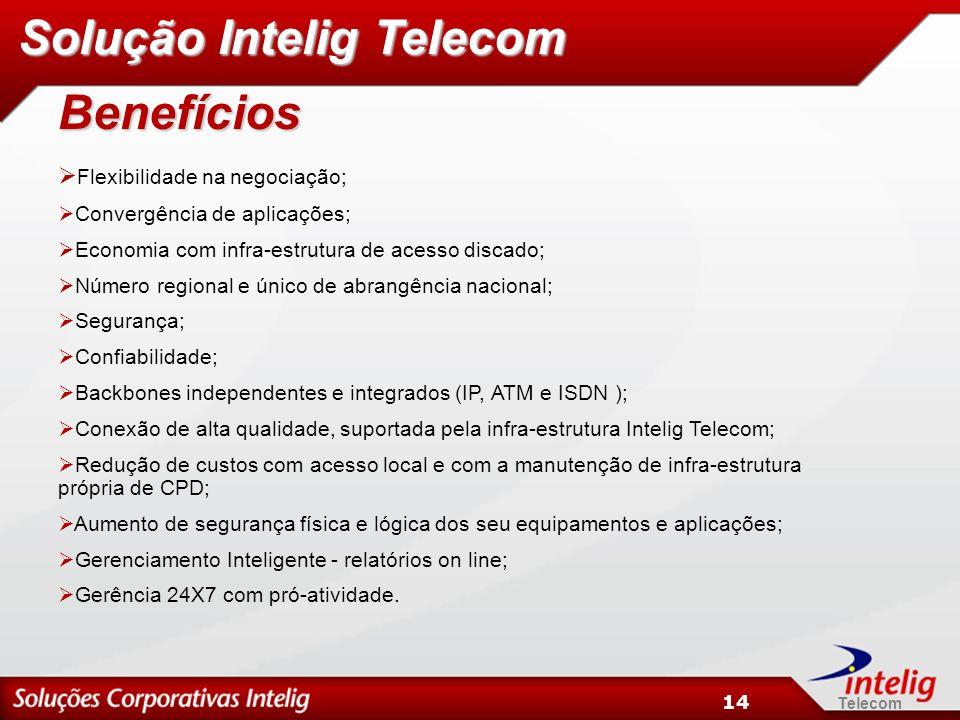 Telecom 14 Benefícios Flexibilidade na negociação; Convergência de aplicações; Economia com infra-estrutura de acesso discado; Número regional e único de abrangência nacional; Segurança; Confiabilidade; Backbones independentes e integrados (IP, ATM e ISDN ); Conexão de alta qualidade, suportada pela infra-estrutura Intelig Telecom; Redução de custos com acesso local e com a manutenção de infra-estrutura própria de CPD; Aumento de segurança física e lógica dos seu equipamentos e aplicações; Gerenciamento Inteligente - relatórios on line; Gerência 24X7 com pró-atividade.