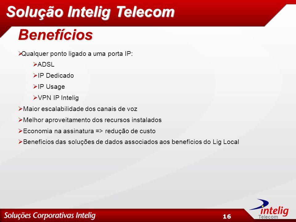 Telecom 16 Benefícios Qualquer ponto ligado a uma porta IP: ADSL IP Dedicado IP Usage VPN IP Intelig Maior escalabilidade dos canais de voz Melhor aproveitamento dos recursos instalados Economia na assinatura => redução de custo Benefícios das soluções de dados associados aos benefícios do Lig Local Solução Intelig Telecom