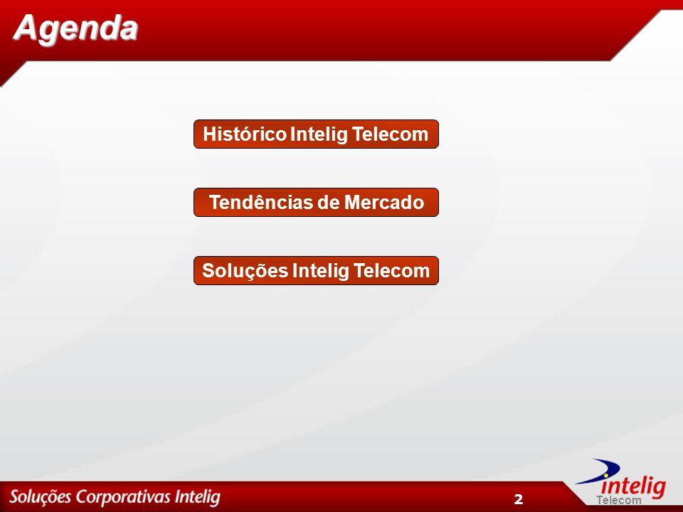 Telecom 3 Histórico Intelig Telecom Lançamento das soluções corporativas em Novembro de 2000; Foi a primeira empresa no Brasil a oferecer produtos com tecnologia MPLS; Primeira empresa no Brasil a oferecer um modelo de qualidade de serviço na rede IP – Intelig IP QoS; Lançamento do VPN IP One Class e Multi Class; Lançamento da Telefonia Local Corporativa nas 10 principais capitais do Brasil em Setembro de 2003; Expansão da telefonia local corporativa para todas as capitais do país em Junho 2004 e outras centenas de localidades; Hoje, 3 milhões de usuários de voz mês e mais de 1700 clientes de dados; Lançamento do TEF em Julho de 2005; Lançamento da Telefonia convergente sobre IP no 2o semestre de 2005.