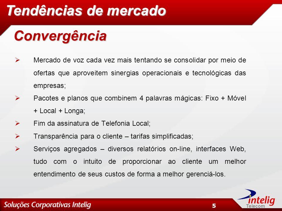 Telecom 5 Mercado de voz cada vez mais tentando se consolidar por meio de ofertas que aproveitem sinergias operacionais e tecnológicas das empresas; P
