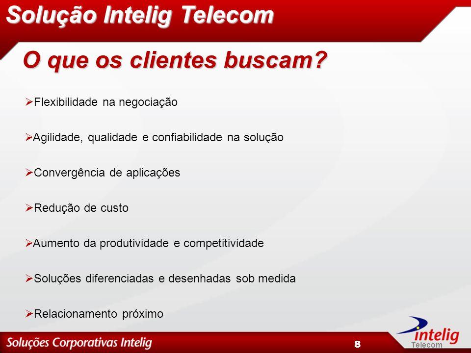 Telecom 8 Flexibilidade na negociação Agilidade, qualidade e confiabilidade na solução Convergência de aplicações Redução de custo Aumento da produtiv