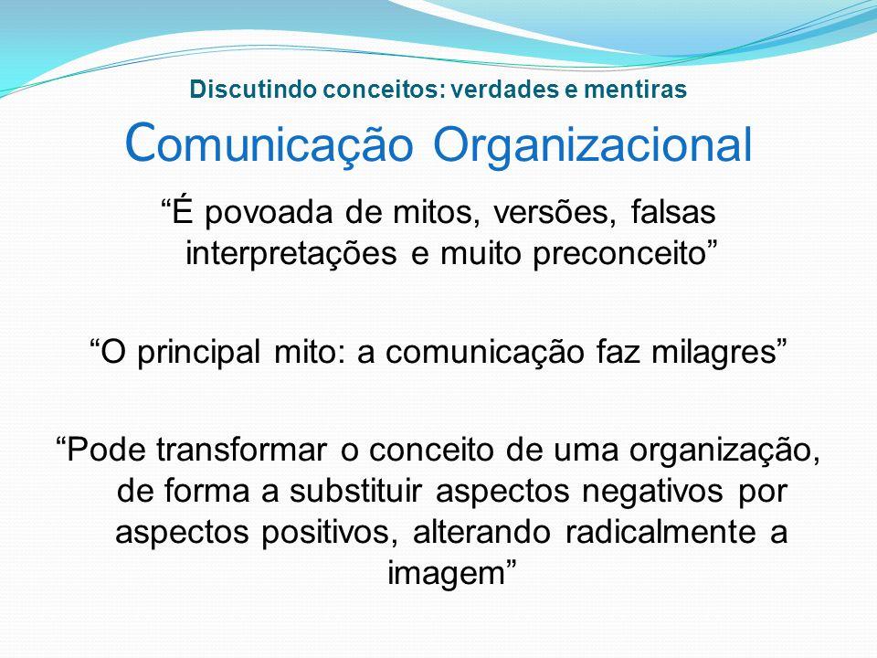 Discutindo conceitos: verdades e mentiras C omunicação Organizacional É povoada de mitos, versões, falsas interpretações e muito preconceito O princip