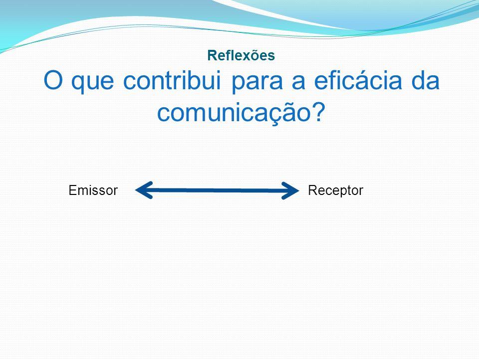 Reflexões O que contribui para a eficácia da comunicação? EmissorReceptor