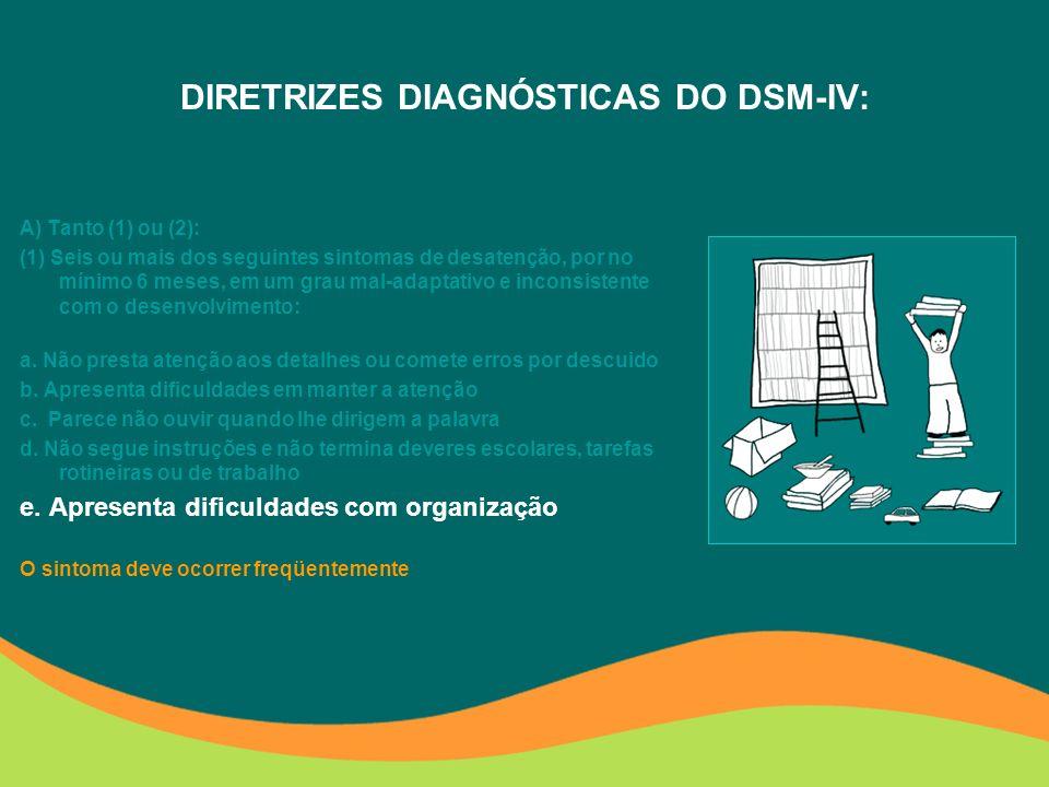 DIRETRIZES DIAGNÓSTICAS DO DSM-IV: (2) Seis ou mais dos seguintes sintomas de hiperatividade/ impulsividade, por no mínimo 6 meses, em um grau mal- adaptativo e inconsistente com o desenvolvimento: e.