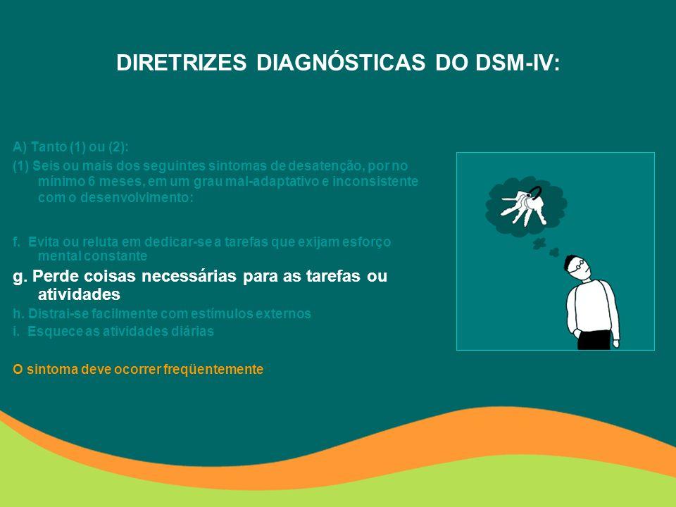 DIRETRIZES DIAGNÓSTICAS DO DSM-IV: A) Tanto (1) ou (2): (1) Seis ou mais dos seguintes sintomas de desatenção, por no mínimo 6 meses, em um grau mal-adaptativo e inconsistente com o desenvolvimento: f.
