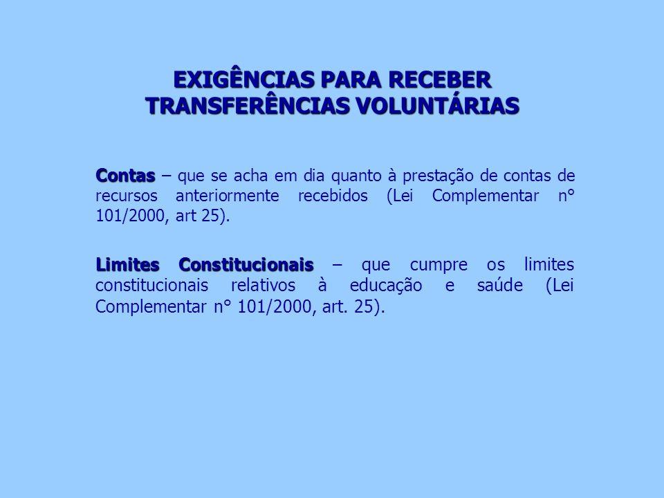 EXIGÊNCIAS PARA RECEBER TRANSFERÊNCIAS VOLUNTÁRIAS Contas Contas – que se acha em dia quanto à prestação de contas de recursos anteriormente recebidos