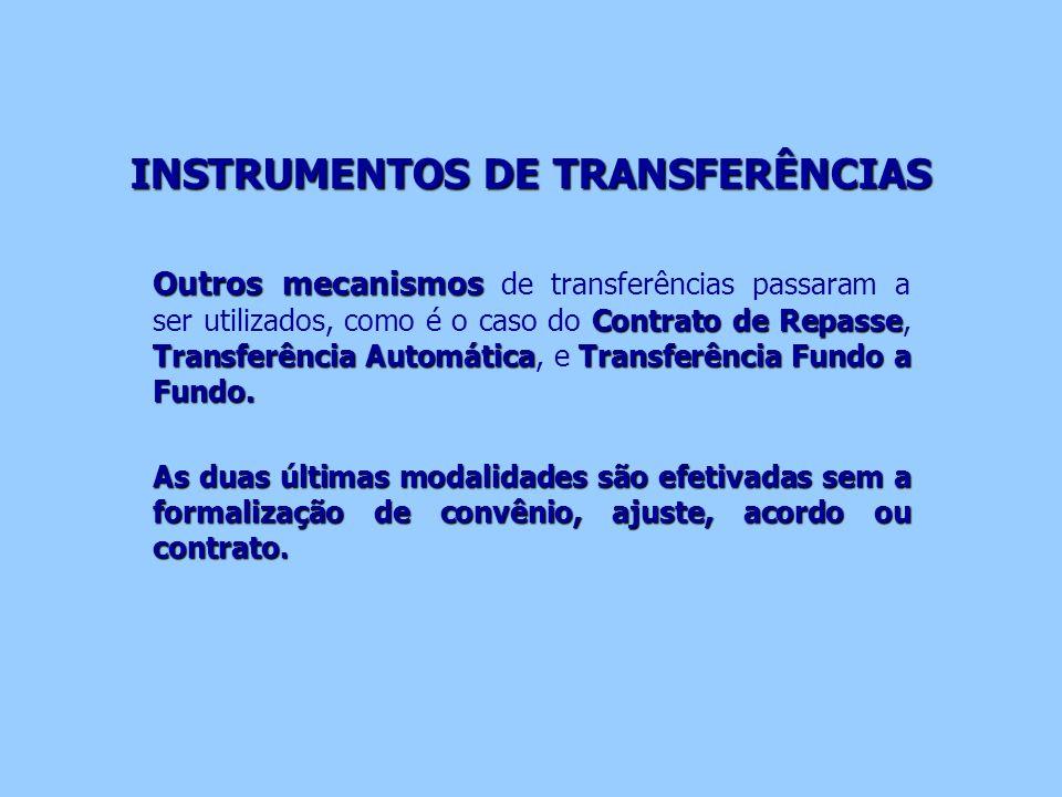 INSTRUMENTOS DE TRANSFERÊNCIAS Outros mecanismos Contrato de Repasse Transferência AutomáticaTransferência Fundo a Fundo. Outros mecanismos de transfe