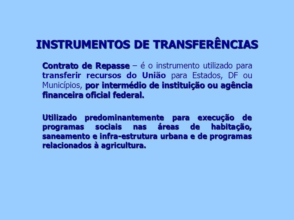 INSTRUMENTOS DE TRANSFERÊNCIAS Contrato de Repasse por intermédio de instituição ou agência financeira oficial federal. Contrato de Repasse – é o inst