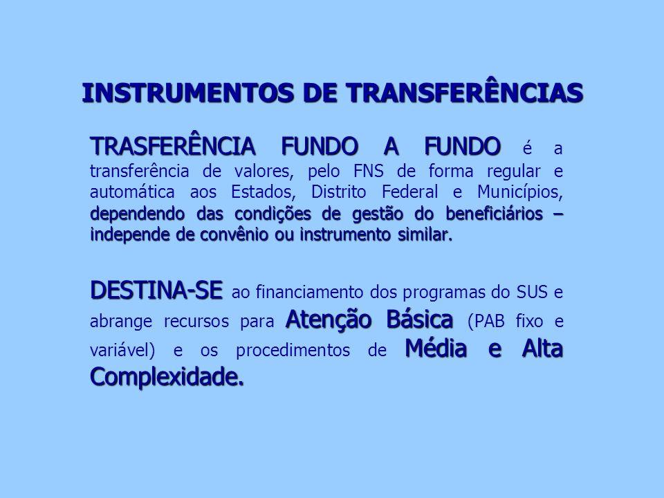 INSTRUMENTOS DE TRANSFERÊNCIAS TRASFERÊNCIA FUNDO A FUNDO dependendo das condições de gestão do beneficiários – independe de convênio ou instrumento s