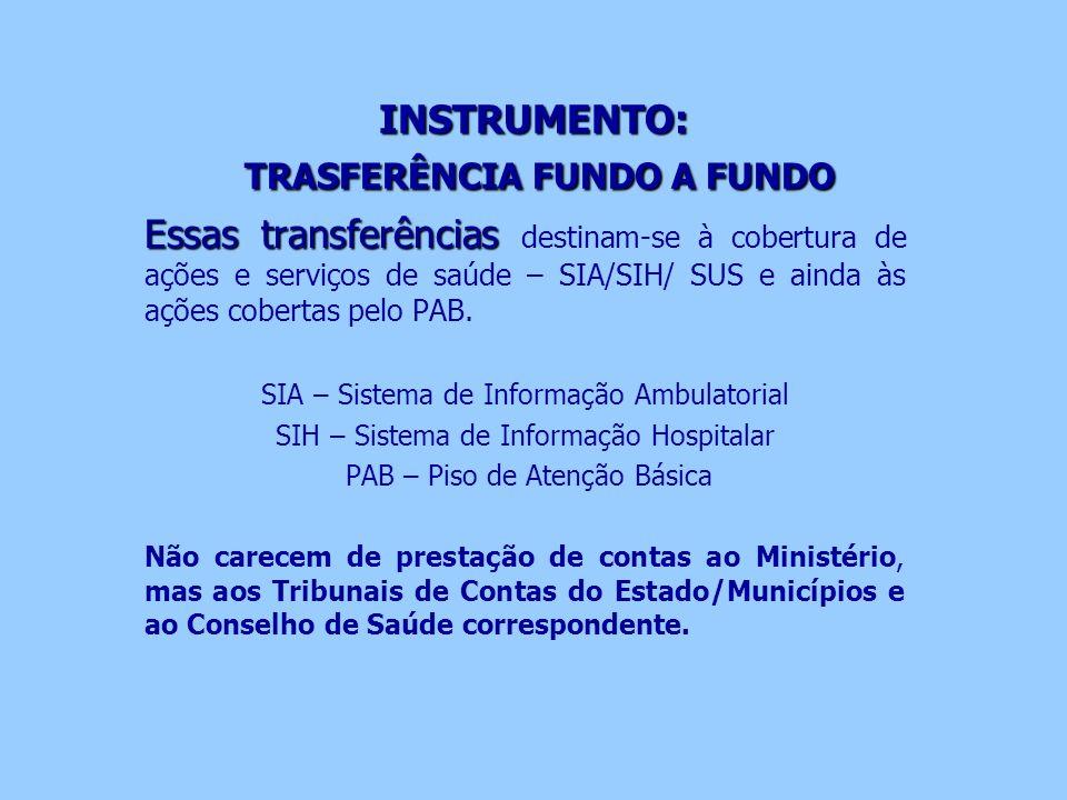 INSTRUMENTO: TRASFERÊNCIA FUNDO A FUNDO Essas transferências Essas transferências destinam-se à cobertura de ações e serviços de saúde – SIA/SIH/ SUS