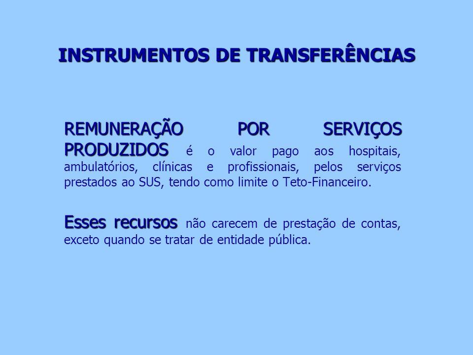 INSTRUMENTOS DE TRANSFERÊNCIAS REMUNERAÇÃO POR SERVIÇOS PRODUZIDOS REMUNERAÇÃO POR SERVIÇOS PRODUZIDOS é o valor pago aos hospitais, ambulatórios, clí