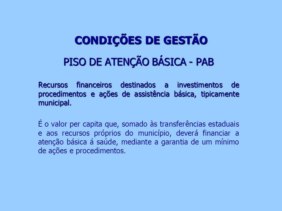 CONDIÇÕES DE GESTÃO PISO DE ATENÇÃO BÁSICA - PAB Recursos financeiros destinados a investimentos de procedimentos e ações de assistência básica, tipic