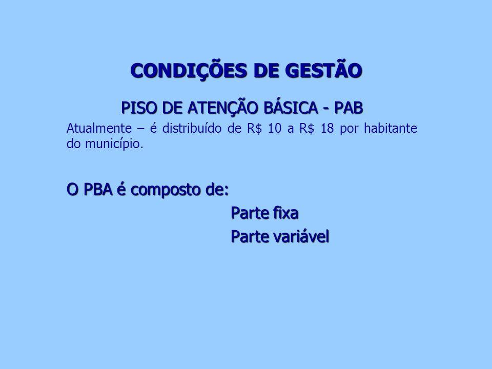 CONDIÇÕES DE GESTÃO PISO DE ATENÇÃO BÁSICA - PAB Atualmente – é distribuído de R$ 10 a R$ 18 por habitante do município. O PBA é composto de: Parte fi