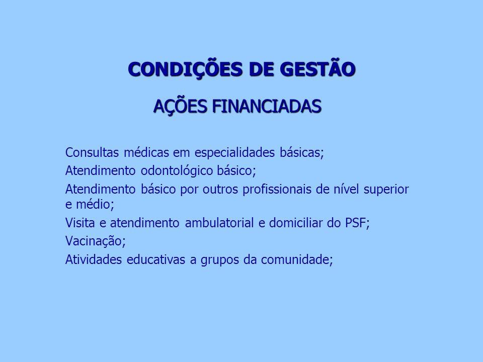 CONDIÇÕES DE GESTÃO AÇÕES FINANCIADAS Consultas médicas em especialidades básicas; Atendimento odontológico básico; Atendimento básico por outros prof