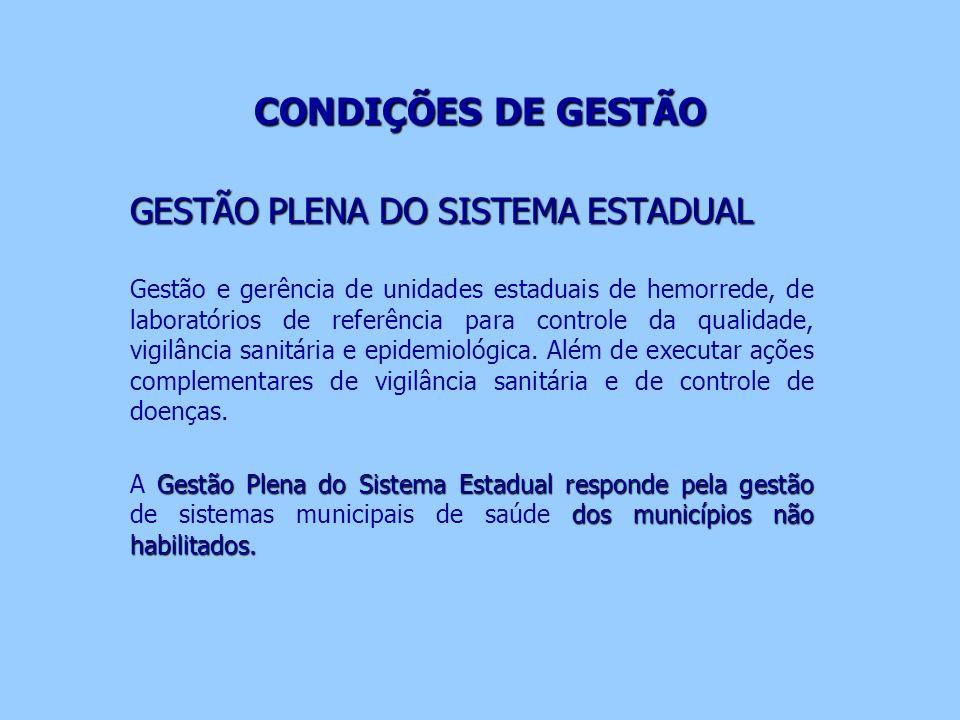 CONDIÇÕES DE GESTÃO CONDIÇÕES DE GESTÃO GESTÃO PLENA DO SISTEMA ESTADUAL Gestão e gerência de unidades estaduais de hemorrede, de laboratórios de refe