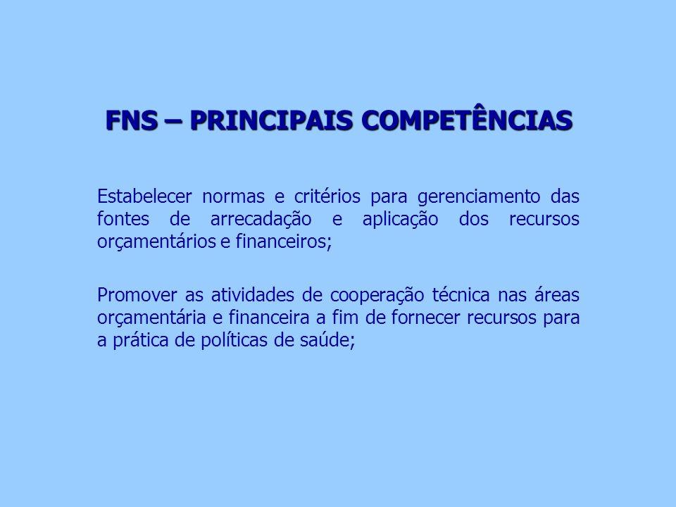 FNS – PRINCIPAIS COMPETÊNCIAS Estabelecer normas e critérios para gerenciamento das fontes de arrecadação e aplicação dos recursos orçamentários e fin